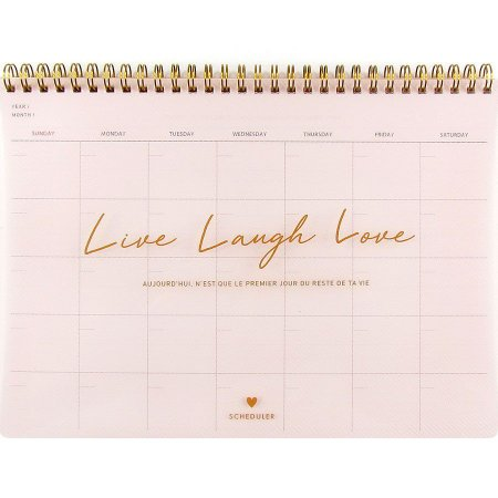 Agenda Permanente (Sem Data) Espiral Artbox - Planner Live Laugh Love Rosa