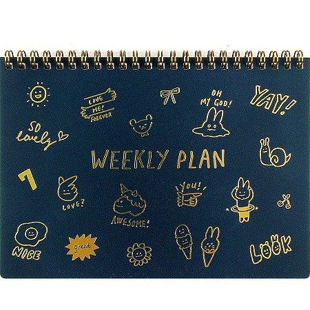 Agenda Permanente (Sem Data) Espiral Artbox - Planner Weekly Plan Desenhos Azul Escuro Dourado