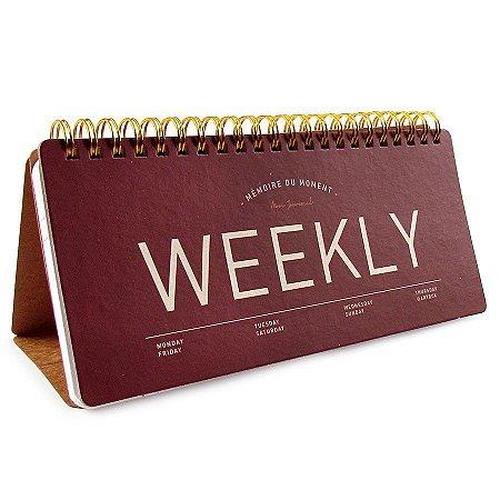 Agenda Semanal de Mesa (Sem Data) Planner Espiral Artbox - Weekly Vinho