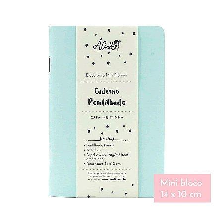 Mini Caderno Pontilhado Mentinha Para Mini Planner A.Craft