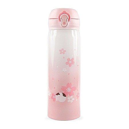 Garrafa Térmica Sakura com Botão 500ml - Gato Dormindo