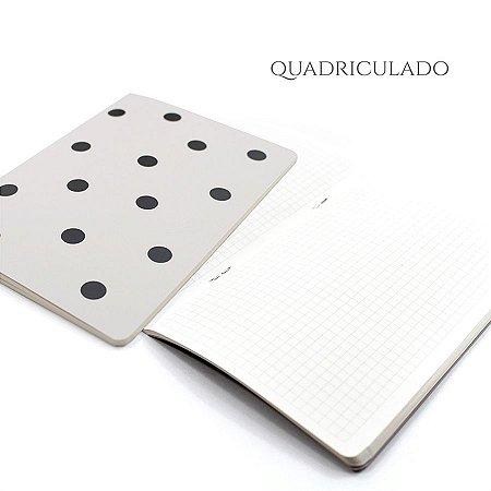Caderno Quadriculado Off White Poá Para Planner A.Craft Tamanho Padrão