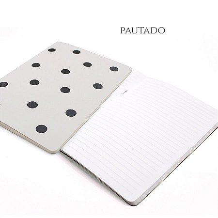 Caderno Pautado Off White Poá Para Planner A.Craft Tamanho Padrão