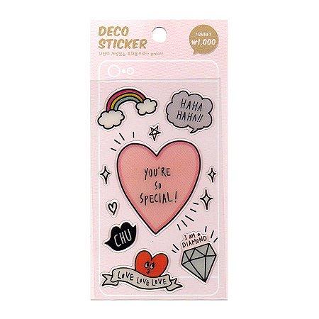 Adesivo Para Celular e Notebook Epoxy Deco Sticker Coração - Artbox