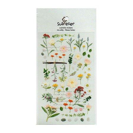 Adesivo Divertido Transparente - Flower Letter