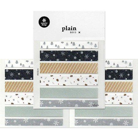 Adesivo Divertido Papel - 3 Cartelas Plain Deco + n.11