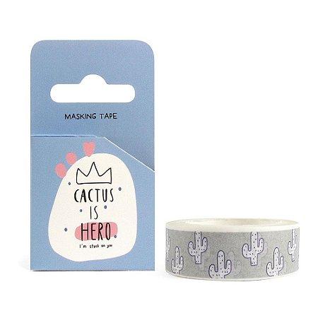 Fita Decorativa Washi Tape - Cactus is Hero Cinza