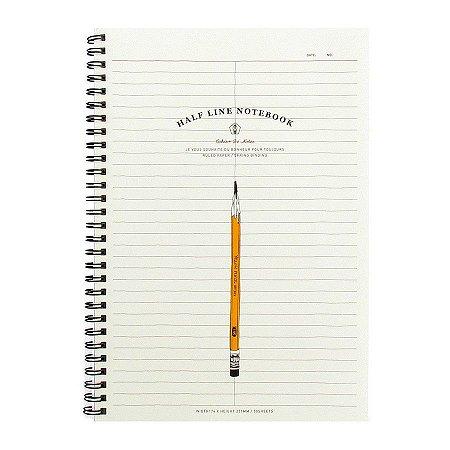 Caderno Espiral Folha Dividida ao Meio Half Line Notebook Lápis Amarelo - Artbox