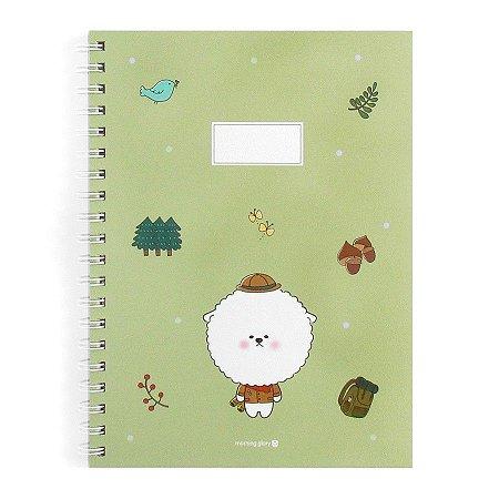 Caderno Espiral Capa Dura Notebook Bonjour Bichon Cachorrinho Verde - Morning Glory