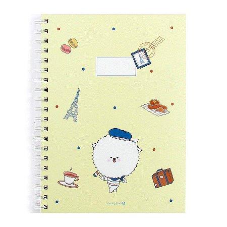 Caderno Espiral Capa Dura Notebook Bonjour Bichon Cachorrinho Amarelo - Morning Glory