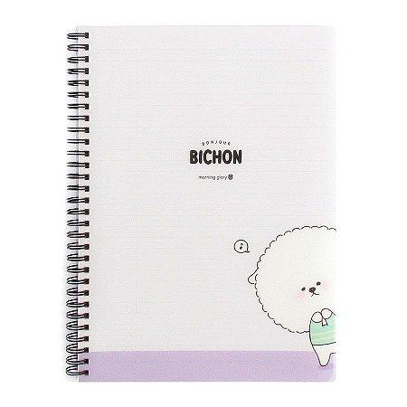 Caderno Espiral Capa Plástica Notebook Bonjour Bichon Cachorrinho Roxo - Morning Glory