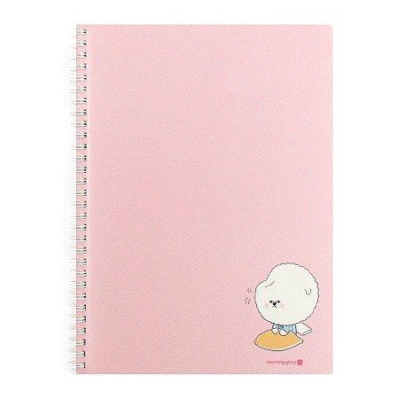 Caderno Espiral Pautado Capa de Papel Bichon Cachorrinho Rosa - Morning Glory