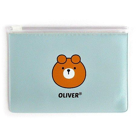 Pasta Plástica Zip Urso Oliver Azul P - Artbox