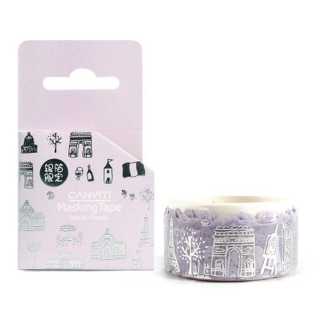 Fita Decorativa Washi Tape Canviti Masking Tape Paris Roxo