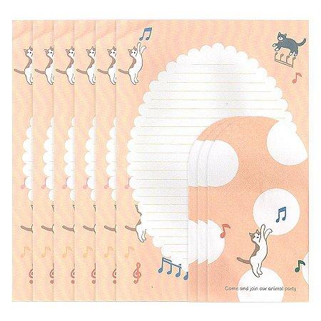 Papel de Carta Ninge Tema Gatinho Notas Musicais Rosa