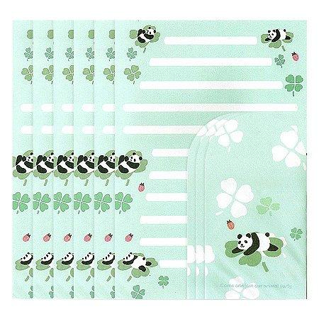 Papel de Carta Ninge Tema Panda Verde