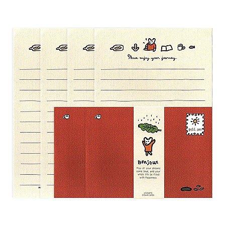 Papel de Carta Mini Letter Paper Bonjour Ursinho Vermelho