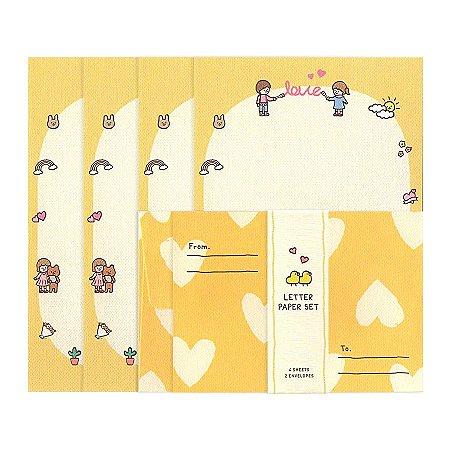 Papel de Carta Mini Letter Paper Love Casal Amarelo