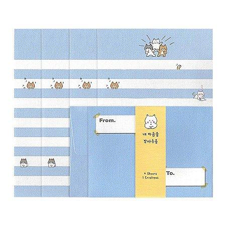 Papel de Carta Mini Letter Gatinhos Azul