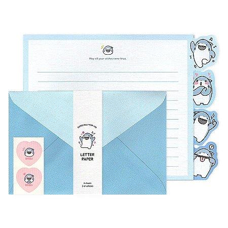 Papel de Carta Letter Paper Especially For You Tubarão Boss Azul