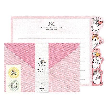 Papel de Carta Letter Paper Especially For You! Cachorrinhos Shiba & Skii Rosa