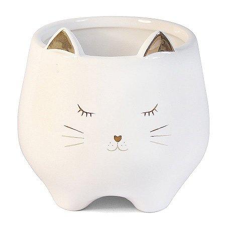 Cachepô Porta Canetas de Cerâmica Gato Branco e Dourado Grande