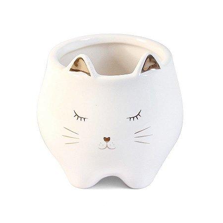 Cachepô Porta Canetas de Cerâmica Gato Branco e Dourado Pequeno