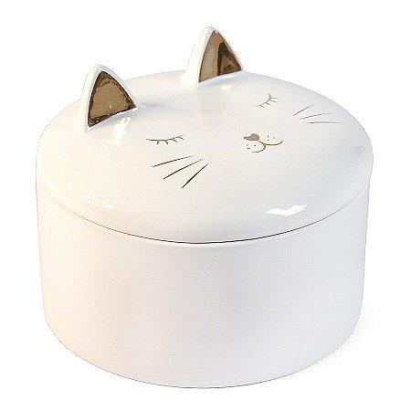 Porta Jóias Bijuteria Treco de Cerâmica Gato Branco e Dourado