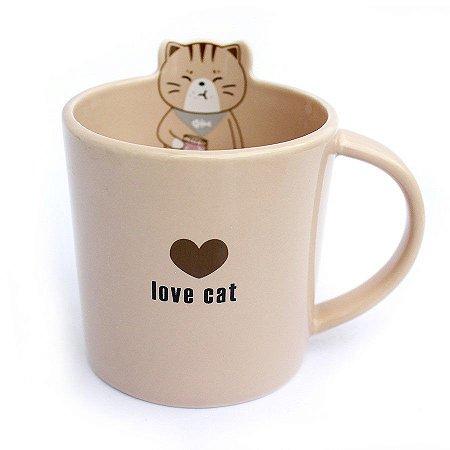 Caneca de Cerâmica Gato Love Cat Marrom