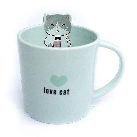 Caneca de Cerâmica Gato Love Cat Verde