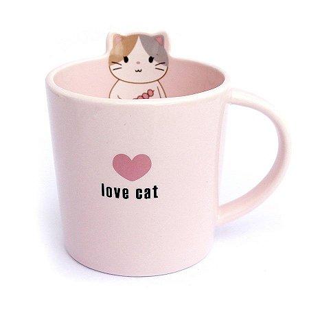 Caneca de Cerâmica Gato Love Cat Rosa