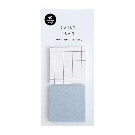 Post-it Stick Daily Plan Sticky Memo Quadrados Quadriculado Azul - Suatelier