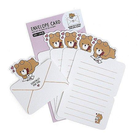 Papel de Carta Envelope Card Urso Oliver Galapagos Friends