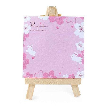 Post-it Com Mini Cavalete 2 Coelhos Flores Sakura Rosa 02