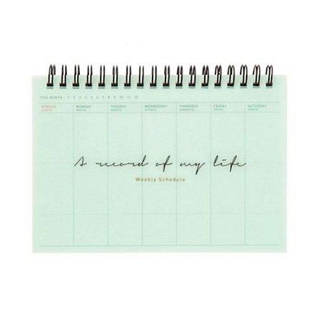 Agenda Permanente (Sem Data) Espiral Artbox - Planner A Word Of My Life Capa PP Verde Água