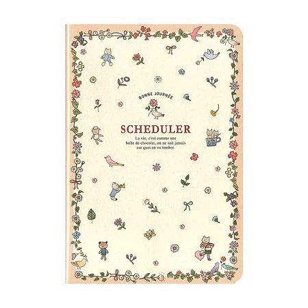 Agenda Permanente (Sem Data) Planner Scheduler Floral Animais Salmão Creme - Artbox
