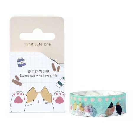 Fita Decorativa Washi Tape - Gatos Patas Verde