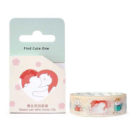 Fita Decorativa Washi Tape - Gatos Hug Me Coração Creme