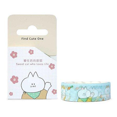 Fita Decorativa Washi Tape - Gatos Cenouras Azul