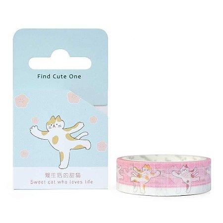 Fita Decorativa Washi Tape - Gatos Yoga Rosa