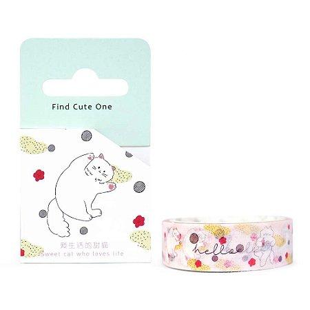 Fita Decorativa Washi Tape - Gatos Bolinha e Floral Rosa