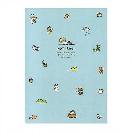 Caderno Brochura My Record Notebook Menina Gato Azul - Artbox