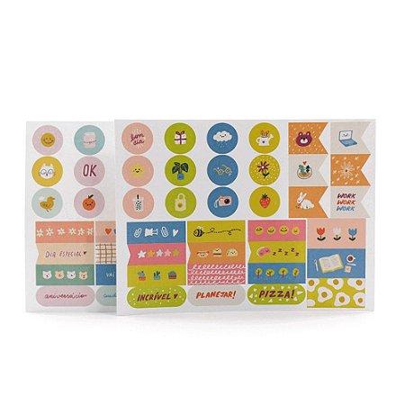 Kit com 4 Cartelas de Adesivos Pequenas Alegrias Victor Martins para Planner A.Craft - Tamanho Padrão e Mini