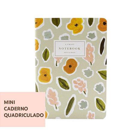 Mini Caderno Quadriculado Flores de Outono Para Mini Planner A.Craft