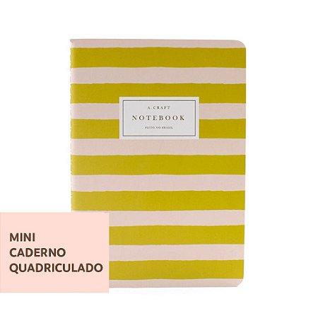 Mini Caderno Quadriculado Pêssego Listrado Para Mini Planner A.Craft