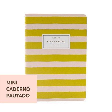 Mini Caderno Pautado Pêssego LIstrado Para Mini Planner A.Craft