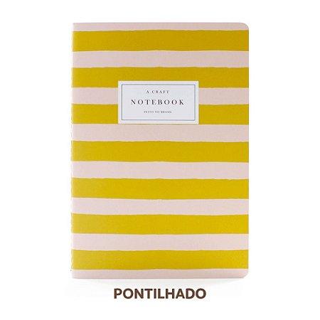 Caderno Pontilhado Pêssego Listrado Para Planner A.Craft Tamanho Padrão