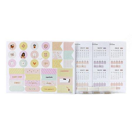 Adesivos Para Planner Não Datado A.Craft 4º trimestre 2021 com Cartela de Adesivos Diversos - Coleção Girlie - Tamanho Padrão e Mini