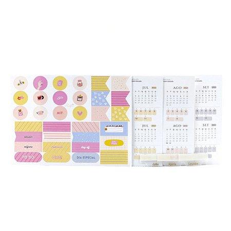 Adesivos Para Planner Não Datado A.Craft 3º trimestre 2021 com Cartela de Adesivos Diversos - Coleção Girlie - Tamanho Padrão e Mini