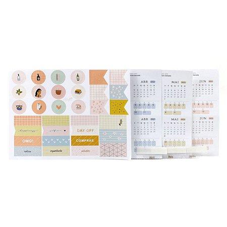 Adesivos Para Planner Não Datado A.Craft 2º trimestre 2021 com Cartela de Adesivos Diversos - Coleção Girlie - Tamanho Padrão e Mini